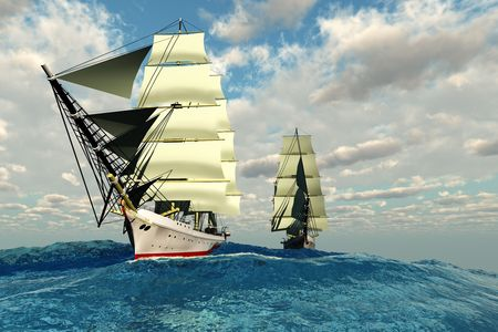 embark: Two tall clipper ships navigate the rough waters of the open sea.