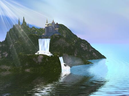 A fairytale castle sits among beautiful waterfalls. photo