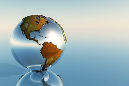 A sphere holding North and South America reflects on a mirror. Stock Photo - 5751528