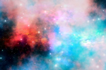remnants: Cloud and star remnants after a supernova explosion. Stock Photo