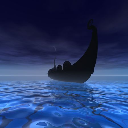 norse: A Viking Ship on a voyage in clear waters of the ocean. Stock Photo