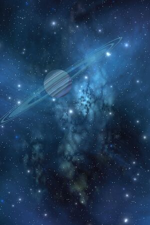 echoes: ECHOES of TIME - A ringed planet orbits near a beautiful nebula in space.