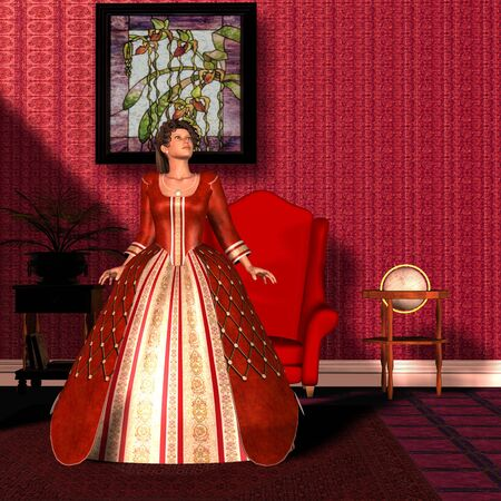 NATIONAL VELVET - A lady in a beautiful red velvet gown is the picture of refined womanhood in the Victorian Era.