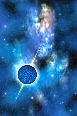 matter: NEUTRON STAR - A large star with concentrated matter hovers in the cosmos. Stock Photo