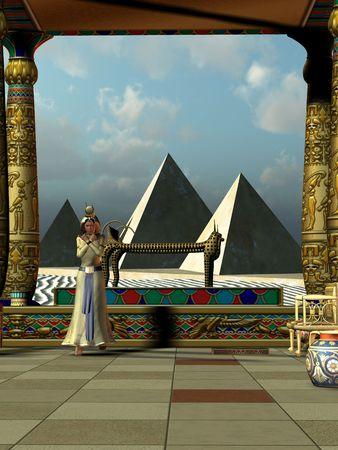 Una visión de la vida egipcia como lo fue en los días antiguos del Imperio nuevo. Foto de archivo - 6572291