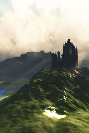 CASTLE IN THE MIST - A beautiful castle sits on the top of a hill overlooking a lush green river valley.