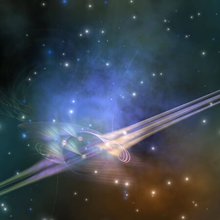 FORCE LINES - A space phenomenon sends out rays through the cosmos.