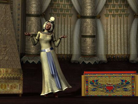 QUEENS DANCE - An Egyptian queen dances for the pharaoh in her palace chambers. photo