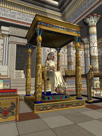 QUEENS THRONE - A queen sits on her royal throne in the ancient Egyptian dynasty.