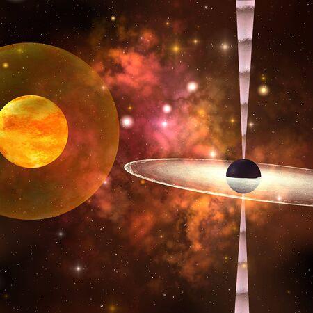 black hole: BLACK HOLE - A huge sun encircled by an energy field orbits near a black hole in space.