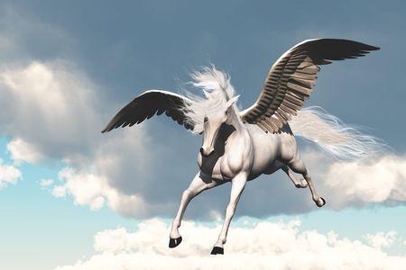 pegaso: PEGASUS - la criatura de f�bula antigua y mito, un hermoso caballo volador de blanco.