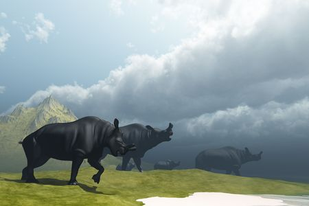 triassic: PREHISTORIC FOG - A herd of Brontotherium dinosaurs come to the lake to drink.