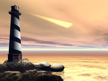 Cape Lookout - A lighthouse shines out to sea to warn passing boats and ships.