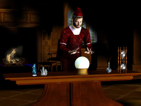 spellbinder: Magician - A magician sees a prophecy in his crystal ball. Stock Photo