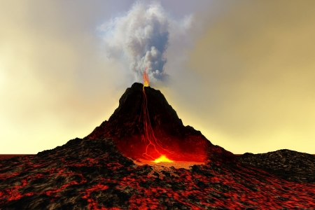 volcanic: ACTIVE VOLCANO - An active volcano spews out hot red lava and smoke.