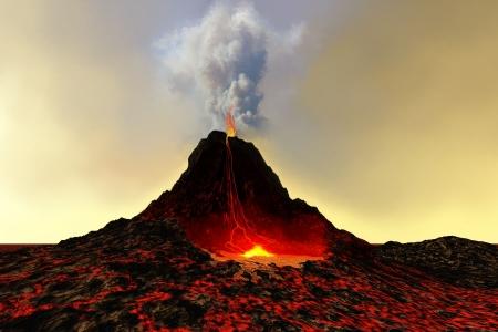 CZYNNY WULKAN - wulkan spews gorÄ…cej lawy czerwone i dymu.