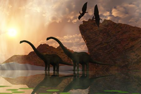 DINOSAUR DAWN - Two diplodocus dinosaurs and two flying pterodactyl birds greet the early morning mist.