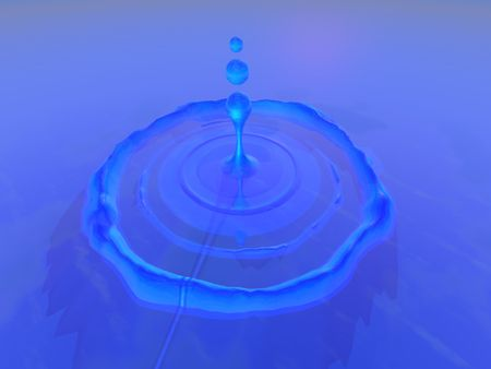 DROP - Ripples surround a drop of water which fell into a pool of beautiful blue liquid.