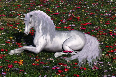 steed: ENCHANTED - A beautiful stag unicorn lays down in a field of flowers and butterflies for a rest.