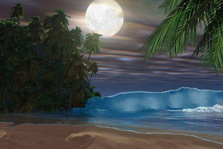 アイランド ビーチ - ムーンライトは、満月の夜の間にこの豪華なビーチにダウン輝いています。