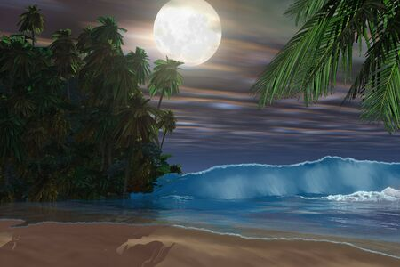 tides: ISLAND BEACH - Moonlight shines down on this gorgeous beach during the night of the full moon. Stock Photo