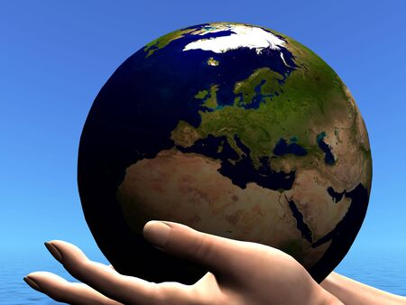 EARTH GLOBE - The planet Earth is held in caring hands. Stock Photo - 6987142