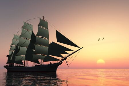 schooner: PULSE OF LIFE - A tall clipper ship sails on calm waters at sunset. Stock Photo