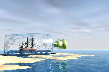 embark: SHIP TO SHORE - A bottle with an exquisite ship comes to the shore of this ocean beach. Stock Photo
