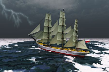 schooner: STORMY WEATHER - A tall ship glides through rough seas during a thunderstorm.