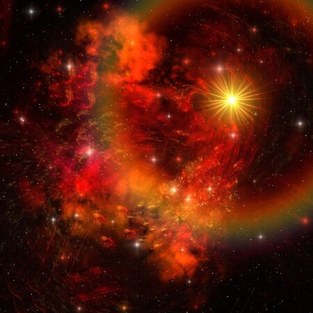 SUPERNOVA - A huge star explodes sending out shock waves throughout the universe. Stock Photo