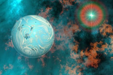COALESCENCE 2 - A planet forms from surrounding gasses and clouds. Stock Photo