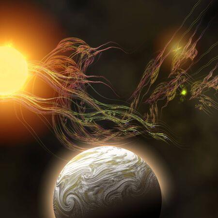 FORCE - A huge sun radiates solar flares toward a nearby planet.