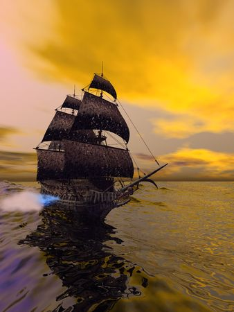 The Flying Dutchman, according to folklore, is a ghost ship that can never go home, doomed to sail the oceans forever. The Flying Dutchman is usually spotted from far away, sometimes glowing with ghostly light. It is said that if hailed by another ship, i