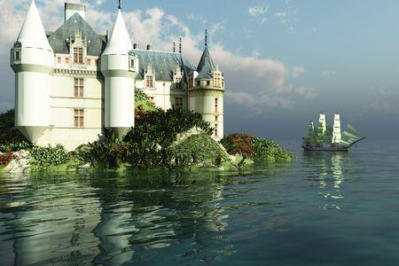 A tall clipper ship sails past a grand castle.