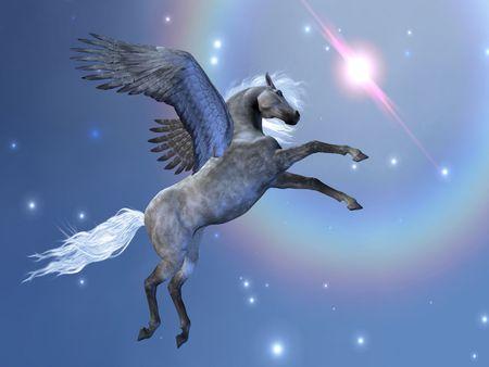 BRAVEHART - Pegasus flies up among the stars in the sky.