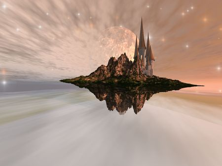 imaginativeness: CHANDARA - A castle maintains an airy existence on this alien world. Stock Photo