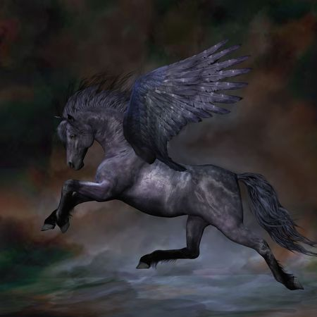 steed: EBONY - A beautiful black Pegasus stallion flies over the misty water.
