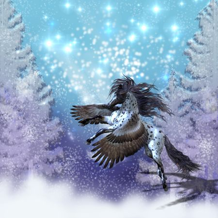 appaloosa: SNOWFLAKE - Spotted Appaloosa Pegasus flies during a snowy winter day. Stock Photo