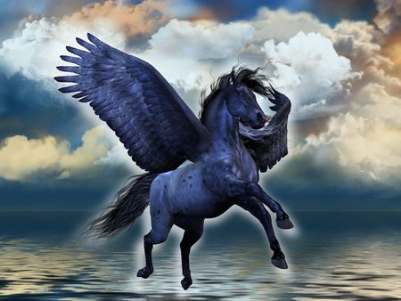 steed: BLACKMORE - A black roan Pegasus stallion glows with magical powers. Stock Photo