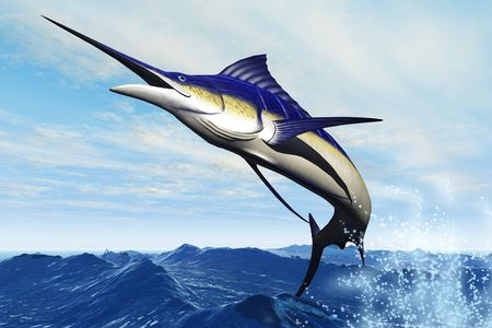 MARLIN JUMP - A sleek blue marlin bursts from the ocean surface in a grand leap.