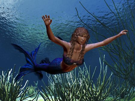 MERMAID - A beautiful blue tailed mermaid swims along a coral reef. photo