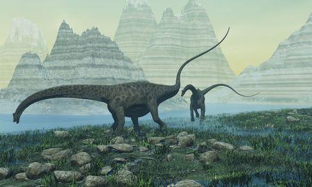 munch: Two Diplodocus dinosaurs munch on vegetation near a mountain lake.