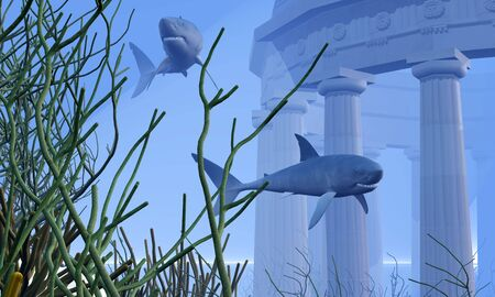 Two Mako sharks swim by a greek temple submerged in the ocean depths. photo