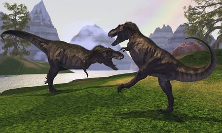 triassic: Two Tyrannosaurus Rex dinosaurs fight for the right of a territory.