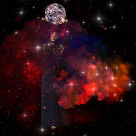 Adora - Adora, godin van de hemel, verspreidt sterren, planeten en manen door het heelal.
