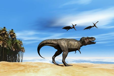 triassic: Beast - Two Pterodactyl flying dinosaurs fly over beastly Tyrannosaurus Rex at the seashore in prehistoric times.