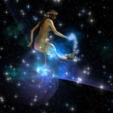Celesta - Celesta, 우주의 영혼 창조체는 우주에 걸쳐 별을 펼칩니다. 스톡 콘텐츠