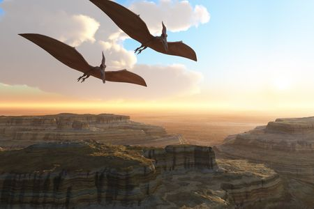 Prehistoric Canyon - Two Pterodactyl flying dinosaurs soar above a beautiful canyon. Stock Photo