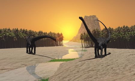 triassic: Prehistoric River - Two Diplodocus dinosaurs come to a river for a drink in prehistoric times. Stock Photo