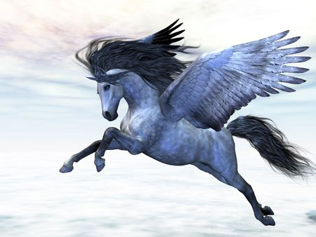 Silver Pegasus - Pegasus flies high in the air over the clouds.